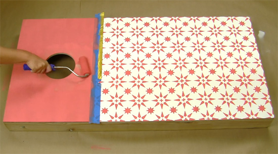Learn how to stencil a DIY cornhole board using a Jewel Tile Stencil from Cutting Edge Stencils. http://www.cuttingedgestencils.com/tile-stencils-cement-tile-stencil-designs-floor-tiles.html