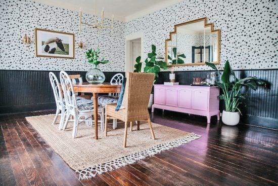 leopard-spot-wall-stencil-diy-stenciled-dining-room-wallpaper