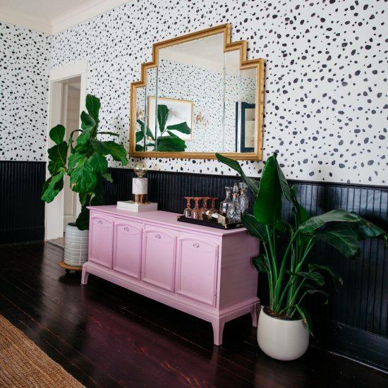 leopard-spot-wall-stencil-diy-stenciled-dining-room-wallpaper-pink-hutch