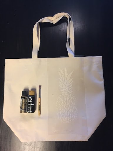 Learn how to stencil a plain $7 tote bag using the Pineapple Stencil from Cutting Edge Stencils. http://www.cuttingedgestencils.com/pineapple-stencil-design-wall-stencils.html