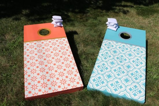 santa-ana-tile-stencil-diy-stenciled-cornhole-tutorial-jewel-stencils-backyard-games-