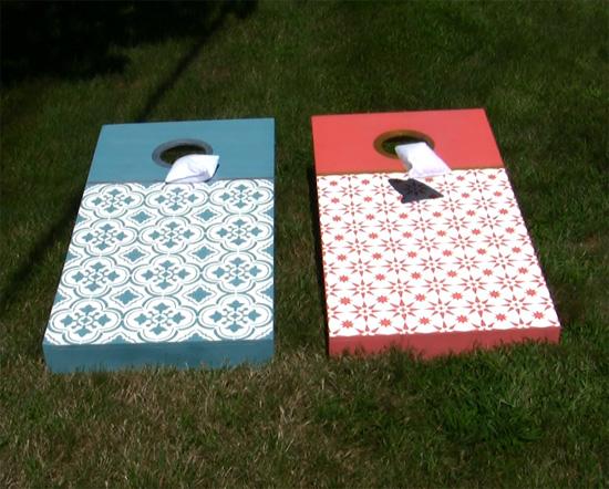 santa-ana-tile-stencil-diy-stenciled-cornhole-tutorial-jewel-stencils-backyard-games
