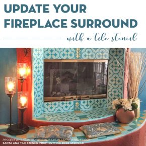 Cutting Edge Stencils shares how to stencil a fireplace surround using the Santa Ana Tile Stencil. http://www.cuttingedgestencils.com/santa-ana-tile-stencil-spanish-tiles-cement-tile-patterns.html