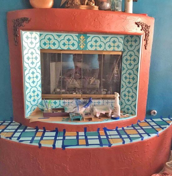 Learn how to stencil a fireplace surround using the Santa Ana Tile Stencil from Cutting Edge Stencils. http://www.cuttingedgestencils.com/santa-ana-tile-stencil-spanish-tiles-cement-tile-patterns.html