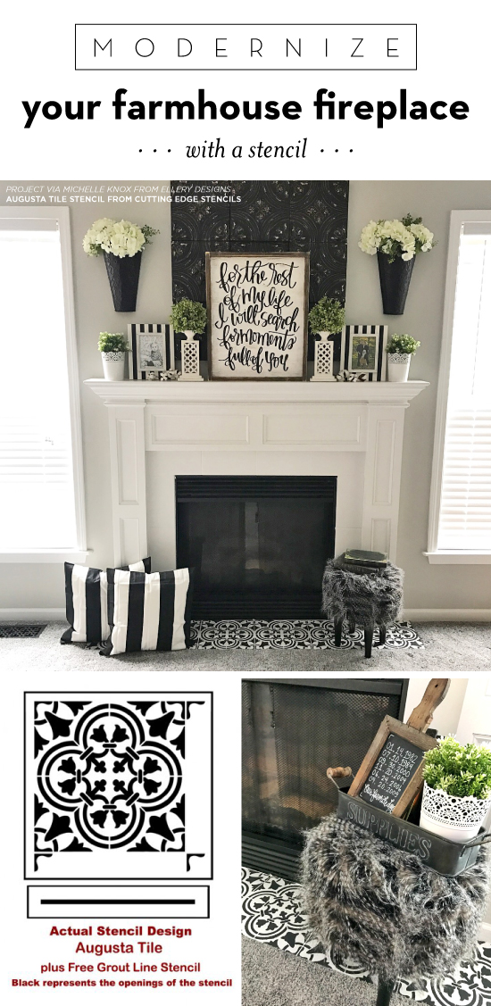 Cutting Edge Stencils Shares How To Update A Farmhouse Fireplace Using The Augusta Tile Stencil