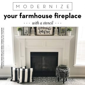 Cutting Edge Stencils shares how to update a farmhouse fireplace using the Augusta Tile Stencil. http://www.cuttingedgestencils.com/augusta-tile-stencil-design-patchwork-tiles-stencils.html