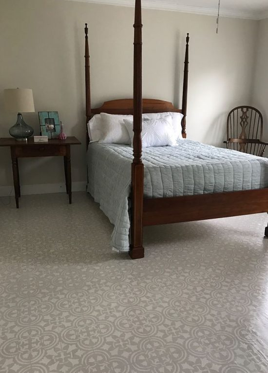Learn how to paint and stencil a subfloor in a guest bedroom using the Augusta Tile Stencil from Cutting Edge Stencils. I'm one of those people that love a challenge. http://www.cuttingedgestencils.com/augusta-tile-stencil-design-patchwork-tiles-stencils.html