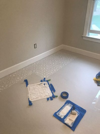 Stencil A Subfloor With A Tile Pattern