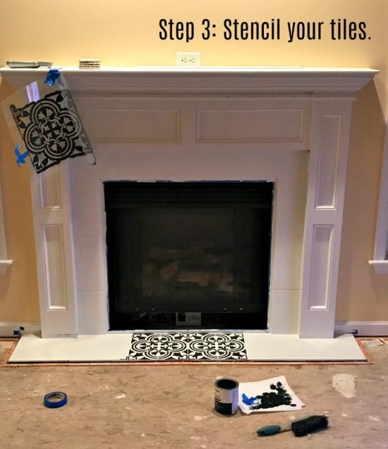 Learn how to modernize a farmhouse fireplace with paint and the Augusta Tile Stencil from Cutting Edge Stencils. http://www.cuttingedgestencils.com/augusta-tile-stencil-design-patchwork-tiles-stencils.html