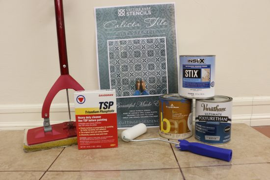 Everything you need to know to paint and stencil a floor using the Calista Tile Stencil from Cutting Edge Stencils. http://www.cuttingedgestencils.com/calista-tile-stencil-backsplash-cement-tiles-stencils.html