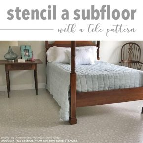 Cutting Edge Stencils shares how to stencil a plywood subfloor in a bedroom using the Augusta Tile pattern. http://www.cuttingedgestencils.com/augusta-tile-stencil-design-patchwork-tiles-stencils.html