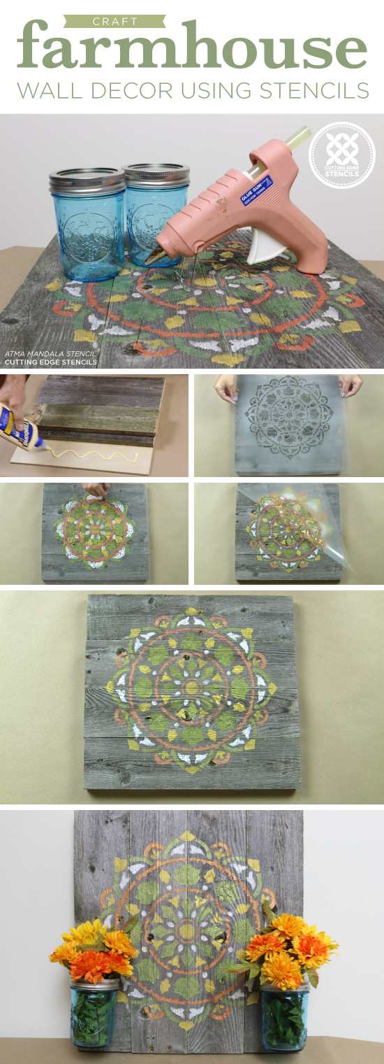 Cutting Edge Stencils shares how to make DIY farmhouse wall decor using the Atma Mandala Stencil and reclaimed wood. http://www.cuttingedgestencils.com/stencil-mandala-atma-medallion-deisgn-stencils.html