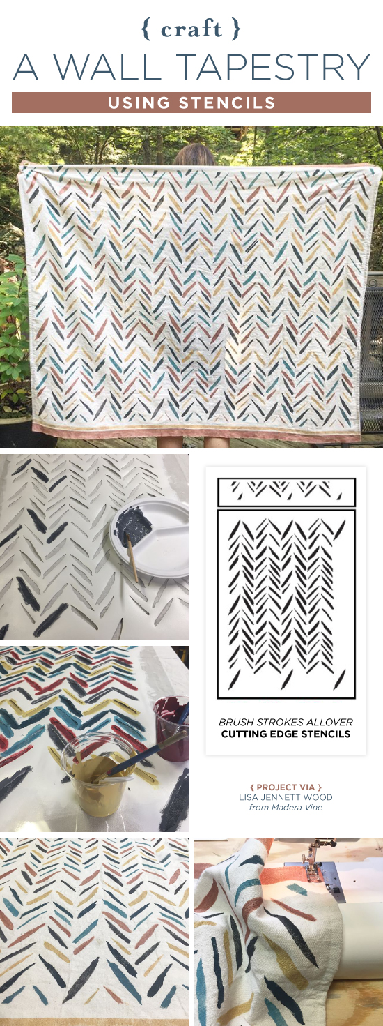 Cutting Edge Stencils shares how to craft a DIY custom wall tapestry from a drop cloth using a stencil. http://www.cuttingedgestencils.com/brush-strokes-wall-pattern-stencil-modern-wall-stencils.html