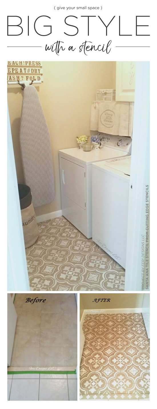 Cutting Edge Stencils shares a DIY laundry room floor makeover using the Santa Ana Tile pattern. http://www.cuttingedgestencils.com/santa-ana-tile-stencil-spanish-tiles-cement-tile-patterns.html