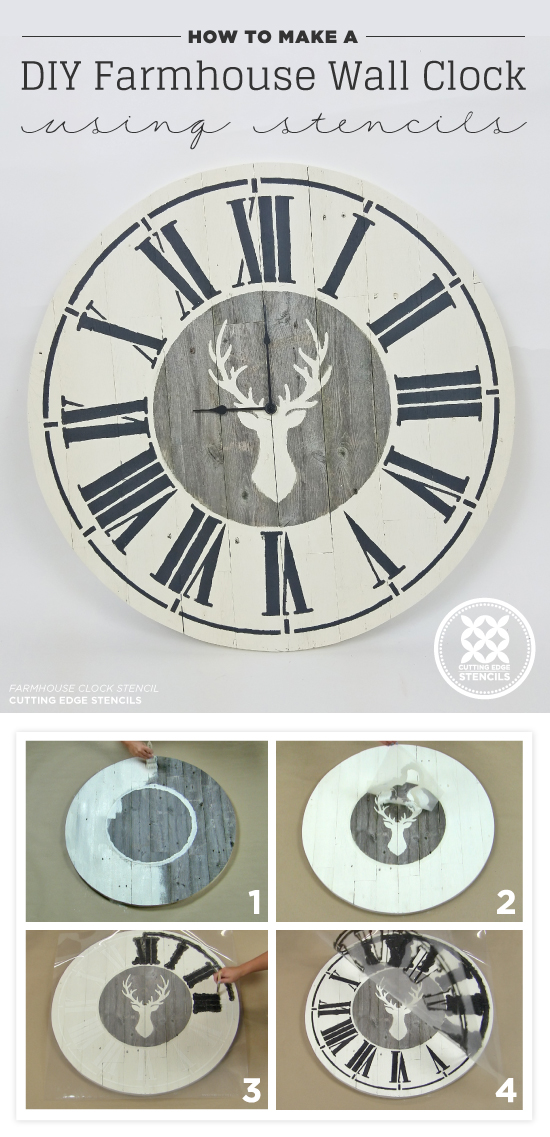 How To Make A DIY Farmhouse Wall Clock Using Stencils