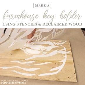 Cutting Edge Stencils shares how to make a DIY farmhouse key holder using the Horse Head Stencil. http://www.cuttingedgestencils.com/horse-stencil-horse-head-wall-stencils-decal.html