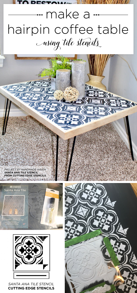 Cutting Edge Stencils shares a DIY hairpin coffee table using the Santa Ana Tile Stencil. http://www.cuttingedgestencils.com/santa-ana-tile-stencil-spanish-tiles-cement-tile-patterns.html