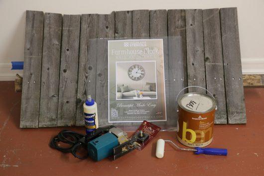 The supplies needed to make a DIY farmhouse clock using a stencil. http://www.cuttingedgestencils.com/farm-house-clock-stencil-wall-stencils-rustic-clock.html