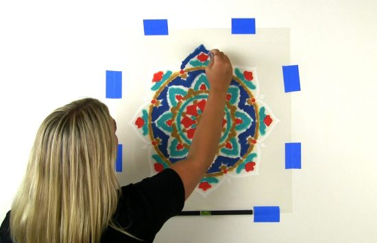 Learn how to stencil an accent wall using the Rangoli Mandala Stencil from Cutting Edge Stencils. http://www.cuttingedgestencils.com/rangoli-mandala-stencil-ceiling-stencils-wall-stencils.html