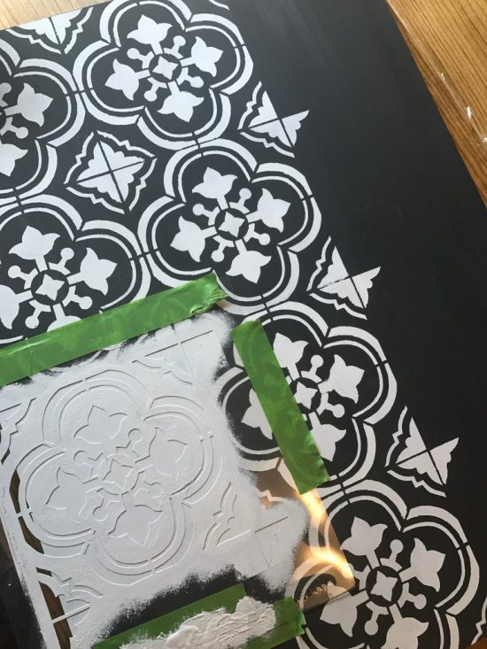 Learn how to stencil a hairpin table using the Santa Ana Tile Stencil from Cutting Edge Stencils. Project by Handmade Haven. http://www.cuttingedgestencils.com/santa-ana-tile-stencil-spanish-tiles-cement-tile-patterns.html