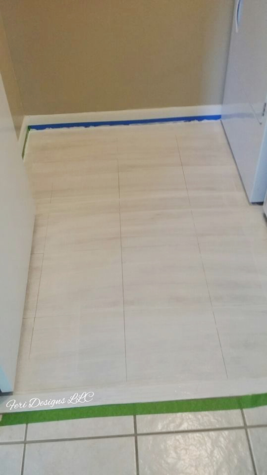 Learn how to stencil and paint a tiled laundry room floor using the Santa Ana Tile Stencil from Cutting Edge Stencils. http://www.cuttingedgestencils.com/santa-ana-tile-stencil-spanish-tiles-cement-tile-patterns.html