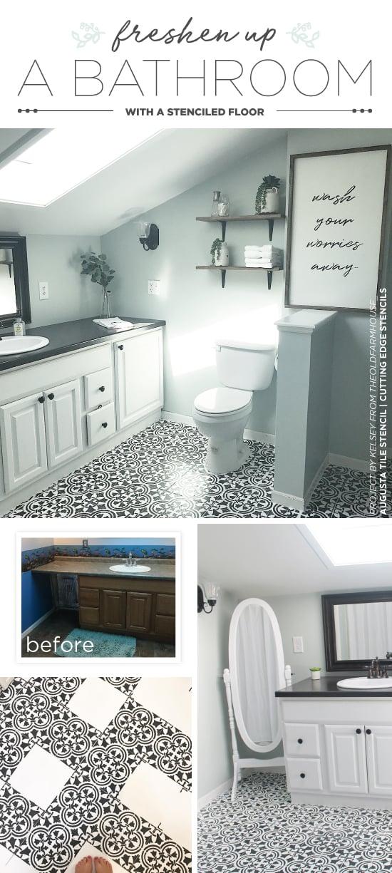 Cutting Edge Stencils shares how to stencil a bathroom floor using the Augusta Tile Stencil. http://www.cuttingedgestencils.com/augusta-tile-stencil-design-patchwork-tiles-stencils.html