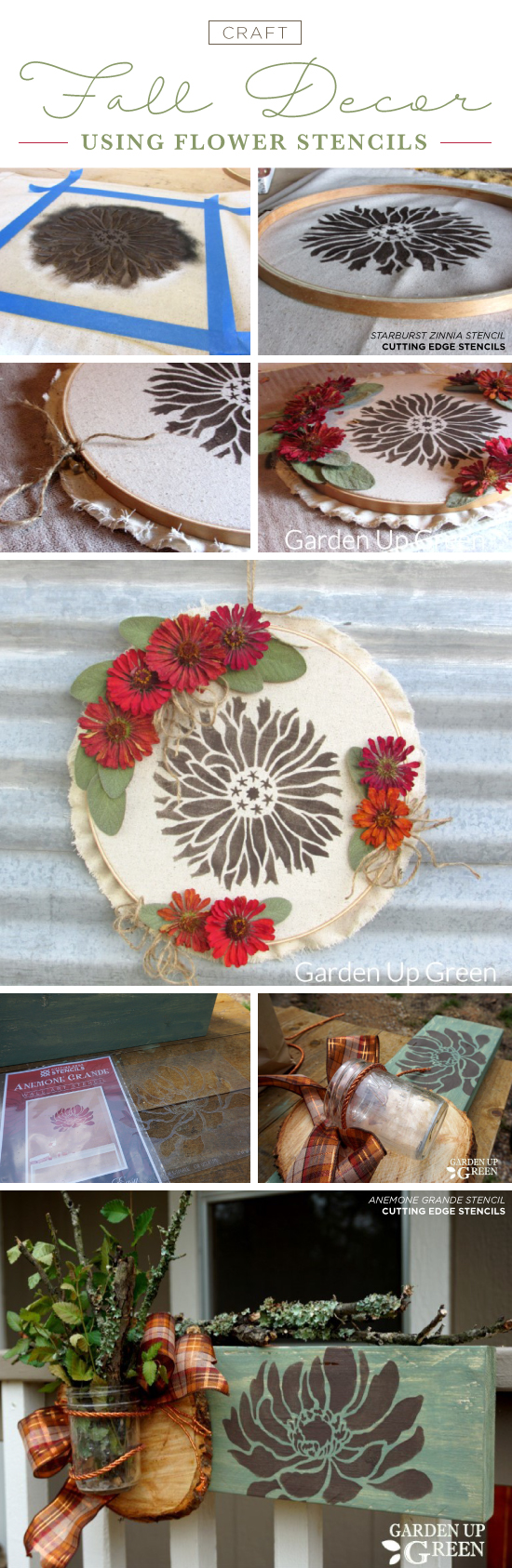 Cutting Edge Stencils shares how to create Fall inspired home decor using flower stencils. http://www.cuttingedgestencils.com/stencils-flower-stencil.html