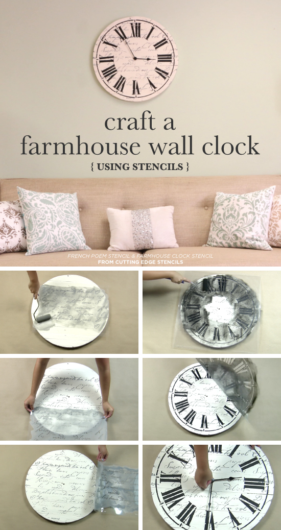 Cutting Edge Stencils shares how to make a DIY farmhouse wall clock using the Clock Stencil. http://www.cuttingedgestencils.com/farm-house-clock-stencil-wall-stencils-rustic-clock.html