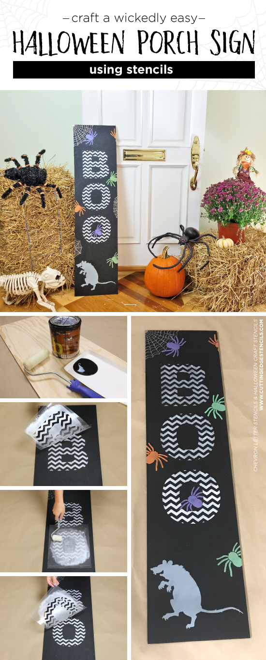 Learn how to make a DIY wooden Halloween Boo sign for a porch using Letter and Halloween Stencil patterns from Cutting Edge Stencils. http://www.cuttingedgestencils.com/halloween-stencils-pumpkin-stencil-stenciled-tote.html
