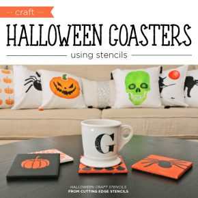 Cutting Edge Stencils shares how to make DIY coasters using our Halloween Stencil patterns. http://www.cuttingedgestencils.com/halloween-stencils-pumpkin-stencil-stenciled-tote.html