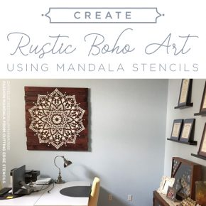 Cutting Edge Stencils shares how to stencil rustic boho inspired wall art using the Passion Mandala Stencil. http://www.cuttingedgestencils.com/passion-mandala-stencil-yoga-decal-wall-stencils-mandalas.html