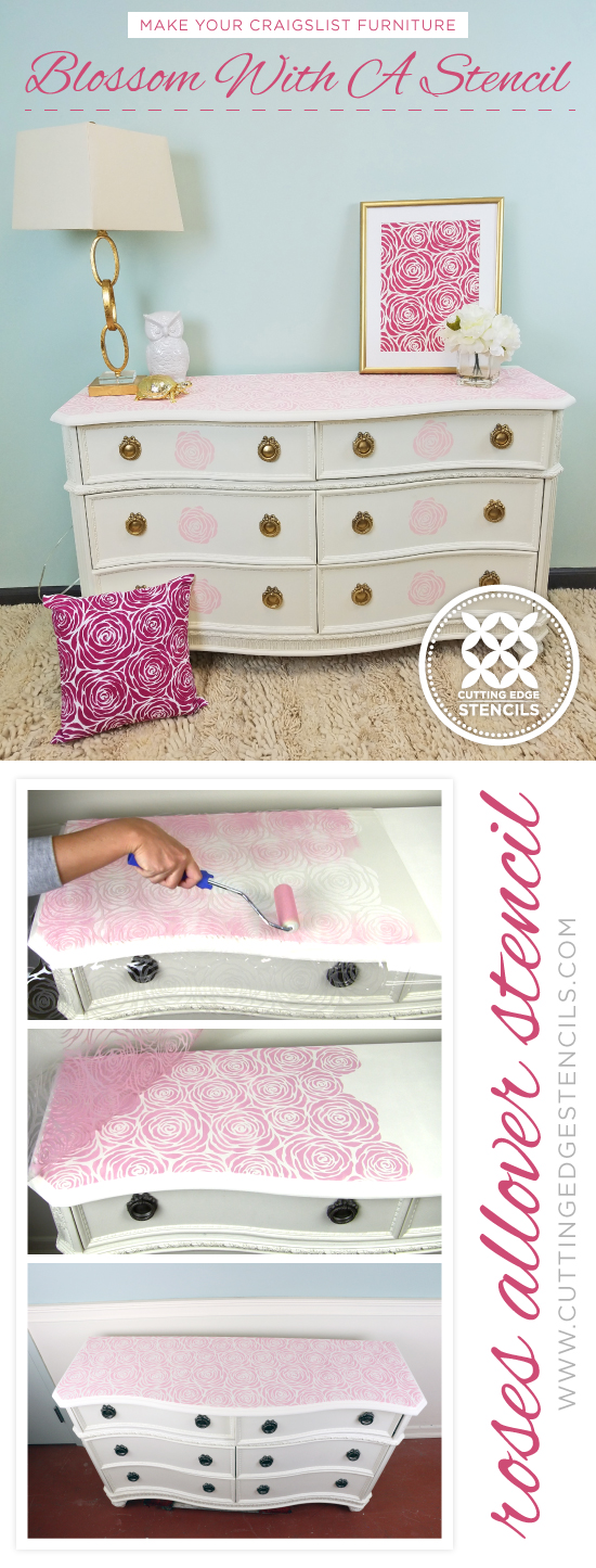 Cutting Edge Stencils shares how to makeover Craigslist furniture using paint and a stencil pattern, like the Roses Allover Stencil. http://www.cuttingedgestencils.com/roses-stencil-pattern-rose-design.html
