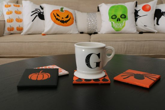 Learn how to stencil a set of DIY coasters using Halloween Stencils from Cutting Edge Stencils. http://www.cuttingedgestencils.com/halloween-stencils-pumpkin-stencil-stenciled-tote.html