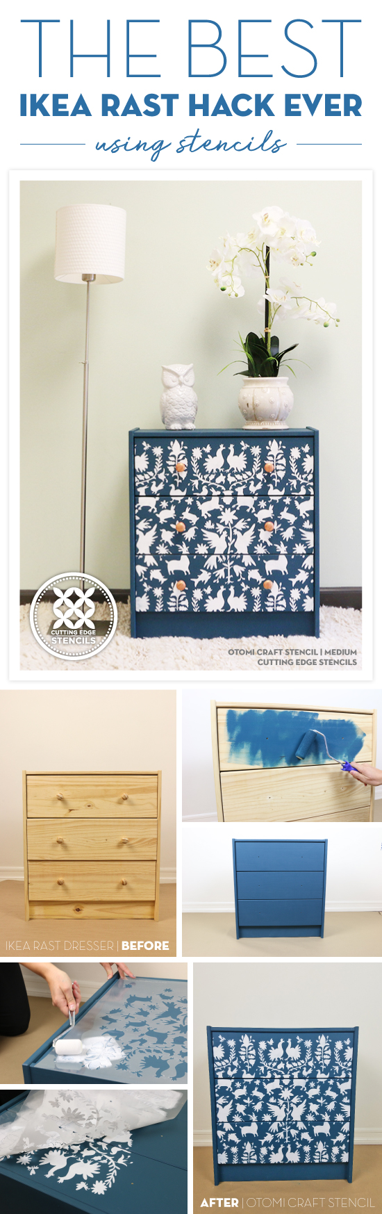 Cutting Edge Stencils shares how to personalize a $35 Ikea RAST using our Otomi Craft Stencil and Benjamin Moore paint. http://www.cuttingedgestencils.com/otomi-pattern-craft-stencil-DIY-home-decor-project.html
