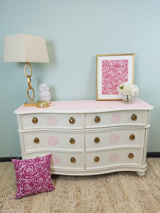 Learn how to makeover a Craigslist piece of furniture using paint and a stencil pattern like the Roses Allover Stencil from Cutting Edge Stencils. http://www.cuttingedgestencils.com/roses-stencil-pattern-rose-design.html