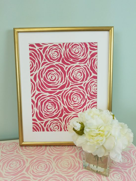 Learn how to make custom canvas artwork using paint, a $10 Ikea frame, and a stencil pattern like the Roses Allover Stencil from Cutting Edge Stencils. http://www.cuttingedgestencils.com/roses-stencil-pattern-rose-design.html