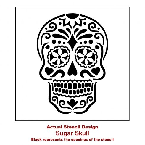 The Sugar Skull Wall Art Stencil from Cutting Edge Stencils. http://www.cuttingedgestencils.com/sugar-skull-stencil-diy-home-decor-project.html