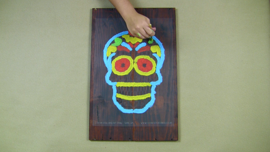 Learn how to stencil Day of the Dead (Dia De Los Muertos) wood wall decor using the Sugar Skull Stencil from Cutting Edge Stencils and reclaimed wood. http://www.cuttingedgestencils.com/sugar-skull-stencil-diy-home-decor-project.html