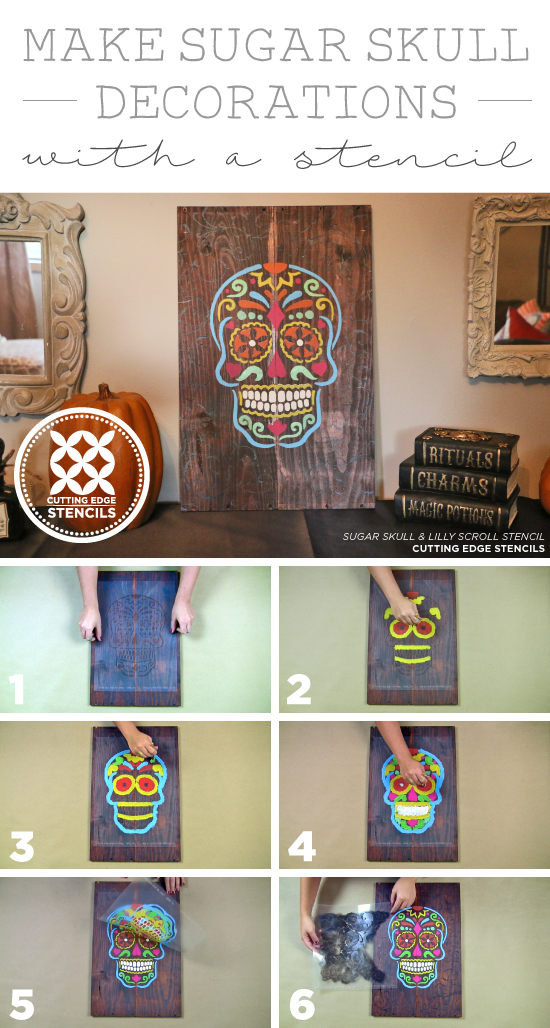 Cutting Edge Stencils shares how to stencil Day of the Dead (Dia De Los Muertos) wooden wall decor using the Sugar Skull Stencil. http://www.cuttingedgestencils.com/sugar-skull-stencil-diy-home-decor-project.html