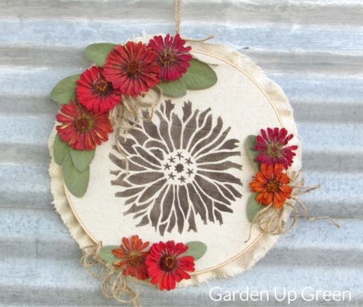 Learn how to craft Fall inspired decor using the Starburst Zinnia Flower Stencil from Cutting Edge Stencils. http://www.cuttingedgestencils.com/flower-stencils-starburst-zinnia-wall-art-stencil-floral.html