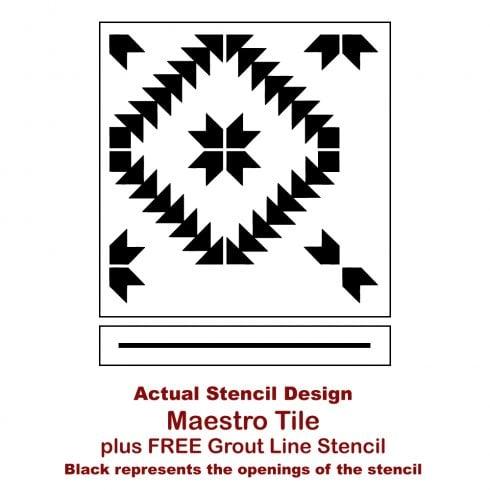 The Maestro Tile Stencil from Cutting Edge Stencils. http://www.cuttingedgestencils.com/geometric-tile-stencil-painted-backsplash-stencils-cement-tile.html