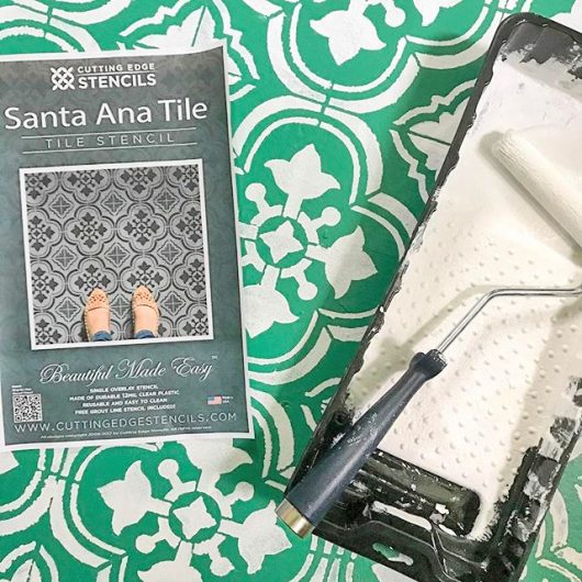 Learn how to stencil an old kitchen floor using the Augusta Tile Stencil from Cutting Edge Stencils. http://www.cuttingedgestencils.com/augusta-tile-stencil-design-patchwork-tiles-stencils.html