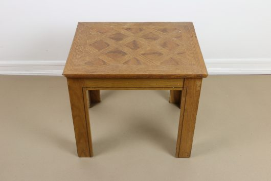 An old wooden table before its stenciled makeover. http://www.cuttingedgestencils.com/prism-stencil-geometric-wall-pattern.html