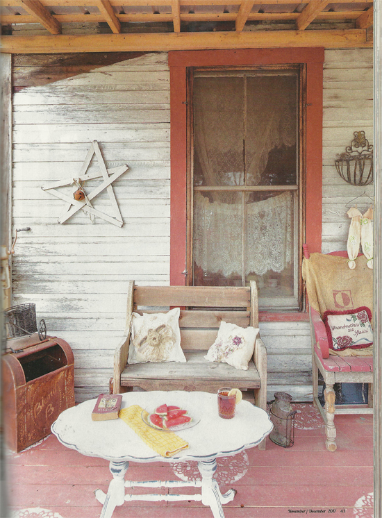 A porch floor in Flea Market Decor Magazine features the Charlotte Allover Stencil from Cutting Edge Stencils. http://www.cuttingedgestencils.com/charlotte-allover-stencil-pattern.html