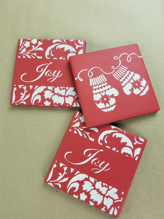 Learn how to craft a set of DIY stenciled coasters using Christmas Stencils from Cutting Edge Stencils. http://www.cuttingedgestencils.com/christmas-stencils-valentine-halloween.html