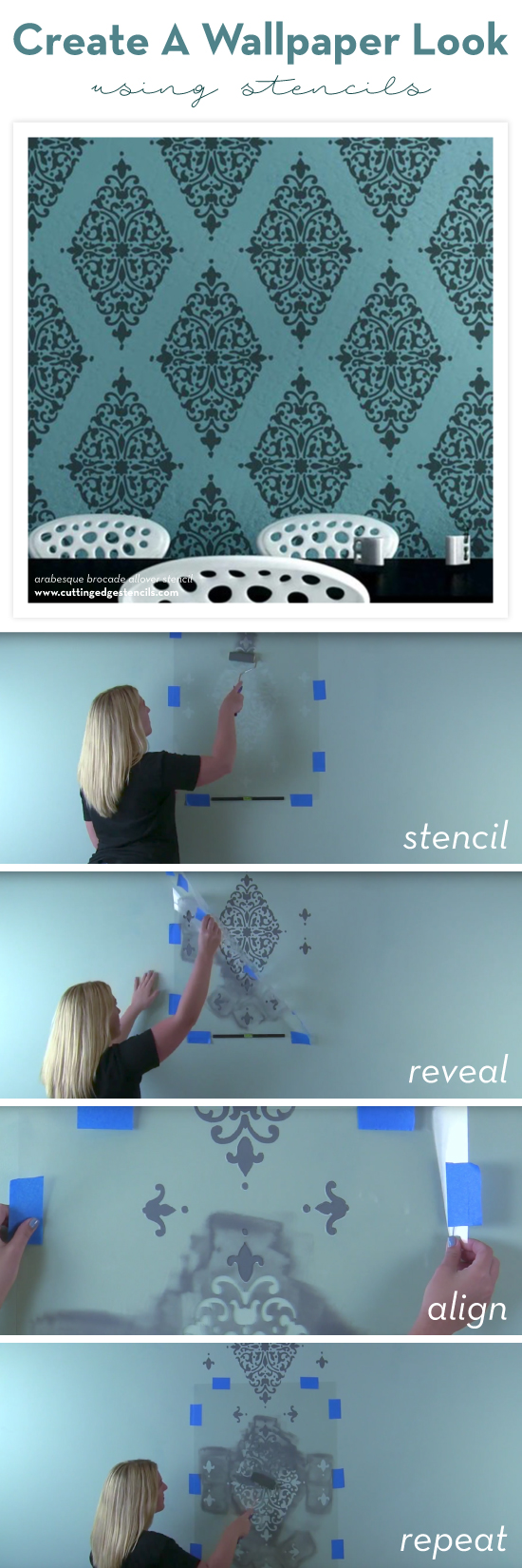 Cutting Edge Stencils shares how to stencil a wallpaper look on an accent wall using the Arabesque Brocade Damask Stencil. http://www.cuttingedgestencils.com/damask-stencil-arabesque-brocade-moroccan-stencils-for-walls.html