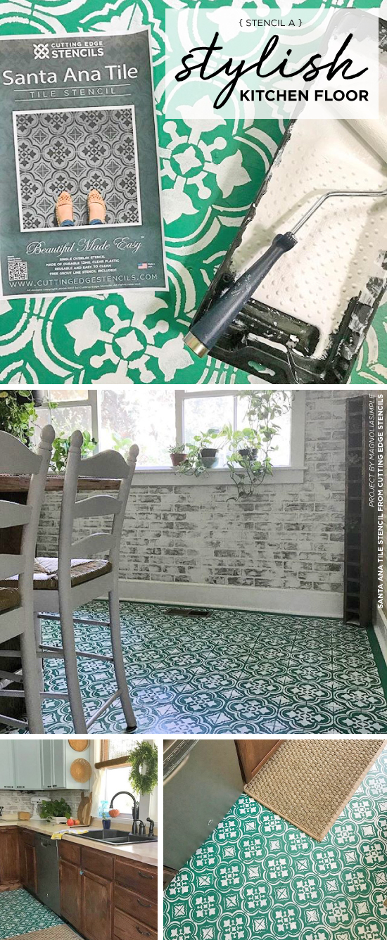 Cutting Edge Stencils shares how to add style to an old kitchen floor using the Santa Ana Tile Stencil. http://www.cuttingedgestencils.com/santa-ana-tile-stencil-spanish-tiles-cement-tile-patterns.html