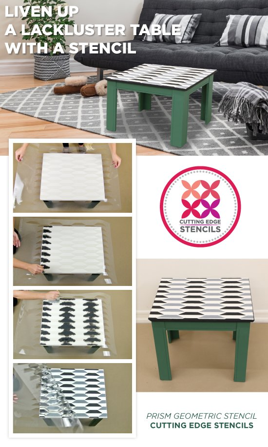 Cutting Edge Stencils shares how to liven up lackluster furniture using a geometric stencil pattern. http://www.cuttingedgestencils.com/prism-stencil-geometric-wall-pattern.html