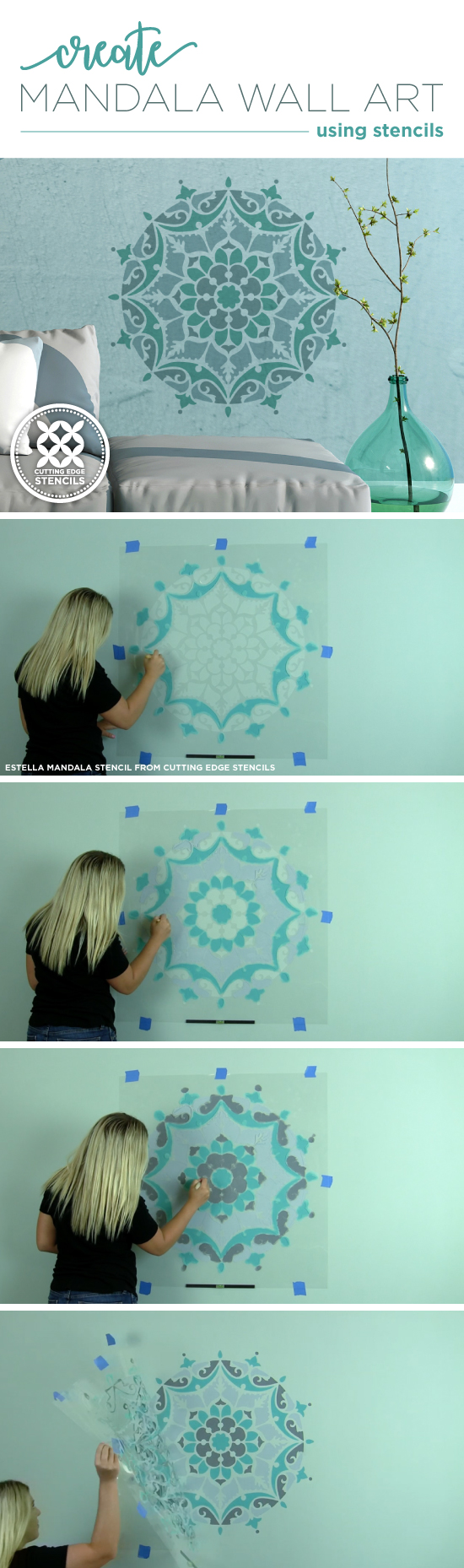 Cutting Edge Stencils shares how to paint wall art using the Estella Mandala Stencil. http://www.cuttingedgestencils.com/estella-mandala-stencil-wall-stencils-designs.html