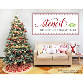 Cutting Edge Stencils shares how to stencil the prettiest DIY Christmas Tree Skirt using the Gratitude Mandala Stencil. http://www.cuttingedgestencils.com/prosperity-mandala-stencil-yoga-mandala-stencils-designs.html
